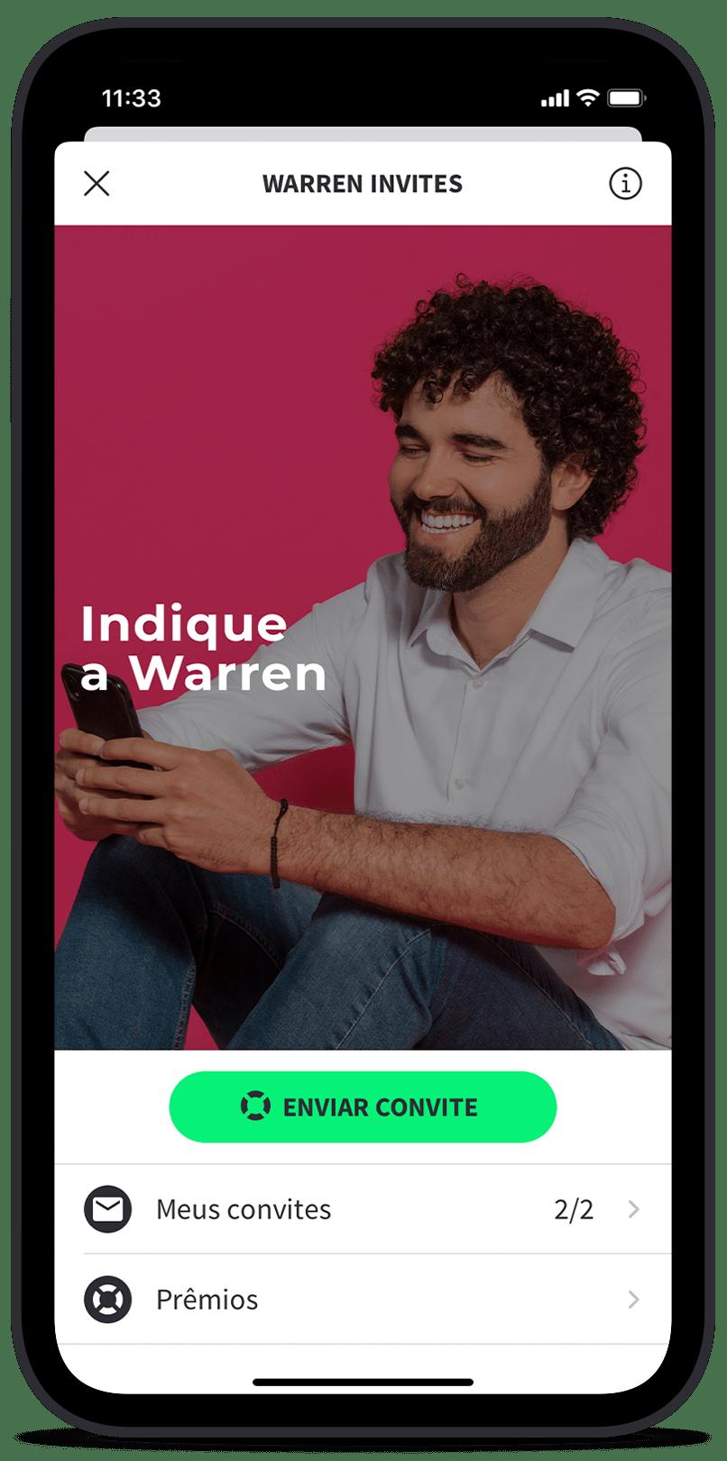 Warren Invites - aprenda a enviar um convite. Ensine formas melhores de investir.